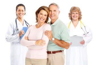 older couple with doctors